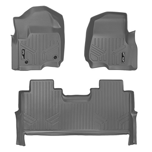 MAX LINER A2246/B2246 Gray Floor Mats 2 Liner Set Grey for 2017-2019 Ford F-250/F-350 Super Duty Crew Cab with 1st Row Bucket Seats ()