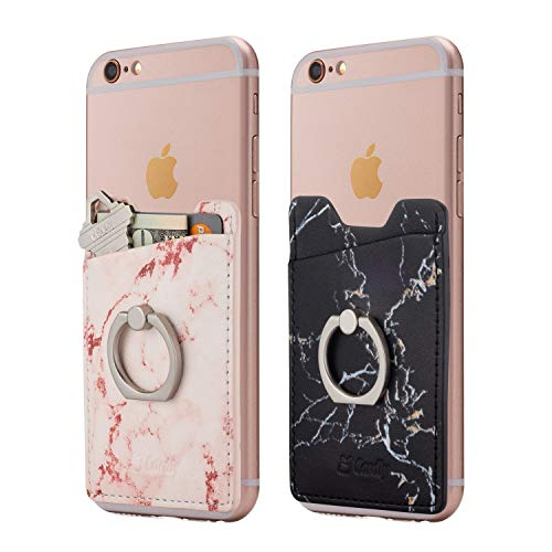 Cardly (Two) Finger Ring and Cell Phone Stick on Wallet Card Holder Phone Pocket for iPhone, Android and All Smartphones. (Pink & Black) (Fingerprint Scanner Iphone)