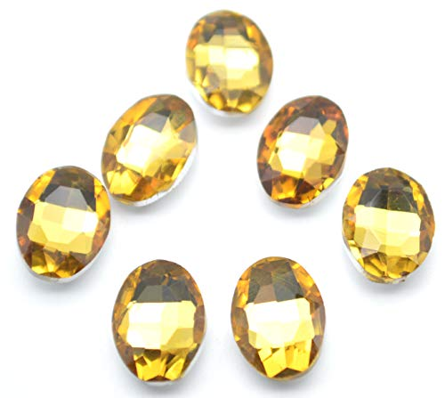 (Catotrem Multifaceted Gemstone Ellipse Glass Beads Vibrant Color Diamante for DIY Project 10X14mm,)