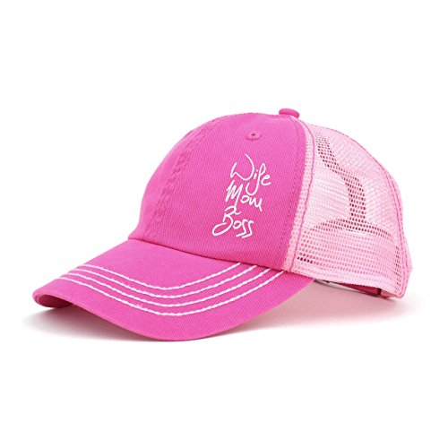 ISelections Wife Mom Boss Trucker Cap (Hat For Boss Pink Women)
