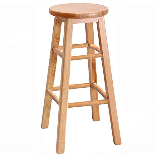 "31"" Wood Stools Square Legs, Bar Stools Chair, Armless and Backless Design Desk Chair, Extra Seat, Kitchen Stools, Chair, Foot Ring, Multiple Colors,Bonus E-Book (Color : Natural)"