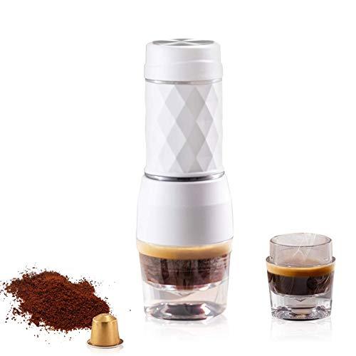 Máquina de café 2 en 1, Cafetera manual portátil, Mini Maker Espresso, Cápsula y Terreno Compatible, Perfecto para…