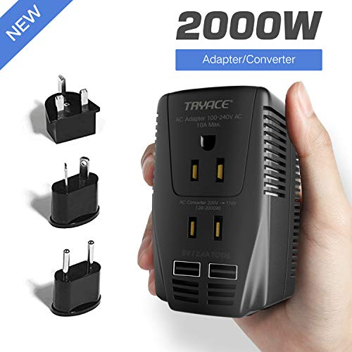 TryAce 2000W Voltage Converter with 2 USB Ports,Set Down 220V to 110V Power Converter for Hair Dryer /Straightener /Curling Iron, Travel Transformer for UK/AU/US/EU Plug Adapter(Exclusive) ()