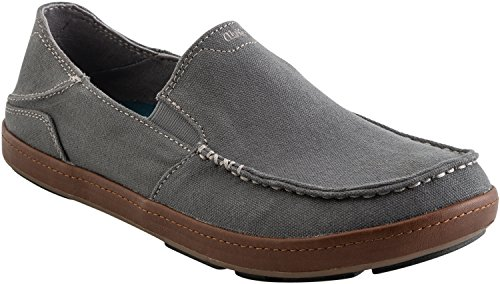 Olukai Puhalu Canvasschoen - Heren Charcoal / Toffee