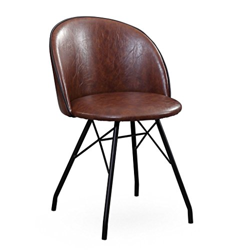 Tov Furniture The Branson Collection Mid-Century Modern Leather Style Upholstery with Steel Legs 360 Degree Swivel Desk Chair, -