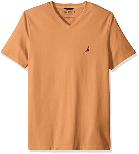 Nautica Men's Short Sleeve V-Neck Solid Jersey T-Shirt, Guava Punch, Small