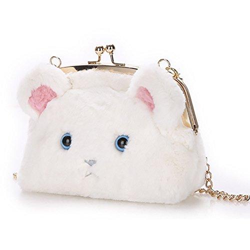 Handbag Bag Fluffy Bag Bag Cute Women's Crossbody QZUnique Kiss Soft Shoulder Cat Shoulder Tote Fur Beige Plush Luck HIC8q0xwq