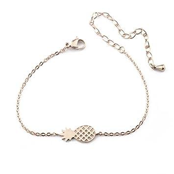 6fc9c3839 PHONILLICO Bracelet Chaine Fine Charm Ananas Rose Acier Fashion Fantaisie Jolie  Bijoux Mode Femme Beauté Taille