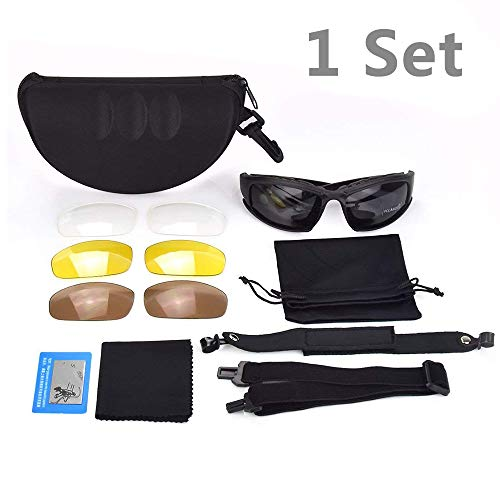 litary Sunglasses Kit w/4 Interchangeable Lenses And Hard Shell Case For Men, Protection Eyeshield - Polarized Sport Army Safety Goggles For Cycling, Running, Driving, Fishing ()