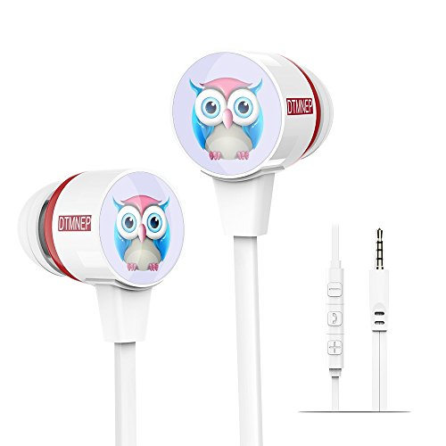 DTMNEP Kids Earphones Children Earbuds in Ear Headphone with owl Design for Tablets & Phones-Perfect Childrens Earbuds for School, Home and Travel