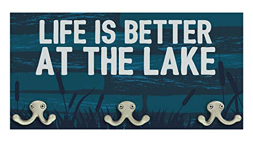 ThisWear Lake House Gifts Life is Better at The Lake House Decor Signs Wood Wall Mounted Coat Rack