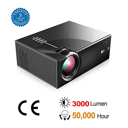 BEYI 3000 Lumen LCD LED Portable Home Theater Video Projectors, 2018 Updated Low-Noise Stereo Speakers, 50000+ Hours Support HD 1080P for Outdoor Movie Nights, Black by BEYI