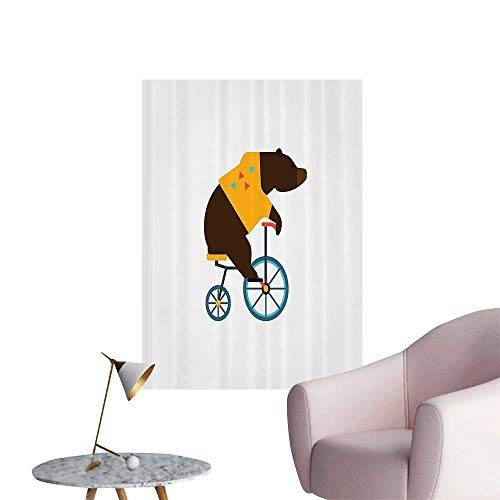 Wall Decoration Wall Stickers Teddy of Circus Riding Bicycle with Trendy Hipster Costume Animal Print Artwork,20