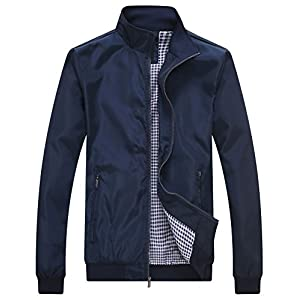 Wantdo Men's Lightweight Bomber Jacket Fall Windbreaker Casual Sport Zip Outerwear Blue Medium