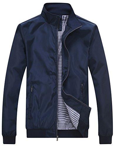 Zipper Sport Jacket - Wantdo Men's Lightweight Bomber Jacket Fall Windbreaker Casual Sport Zip Outerwear Blue XX-Large