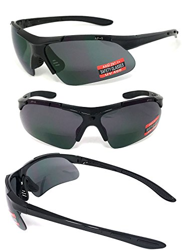 VeryHobby® Inner Bifocal Safety Reading Glasses Reading Sunglasses UV400 AP+S ANSI Z87.1+ (+1.50, Smoke - Sunglasses With Safety Readers