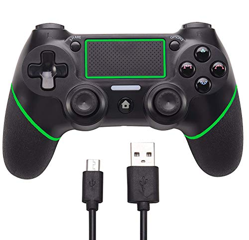Mekela Wireless Bluetooth Controller 4 Gamepad for PS4 Playstation 4, Touch Panel Joypad Six Axies DualShock with Dual Vibration- Bundled with USB Charge Cord?Green?