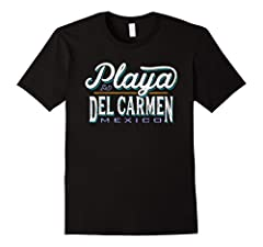 Playa Del Carmen shirt. Cool retro script with the word Mexico in tropical beach colors accents. Distressed for the weathered, vintage look. Display your love for this amazing tropical beach paradise located on the Mayan Riviera.