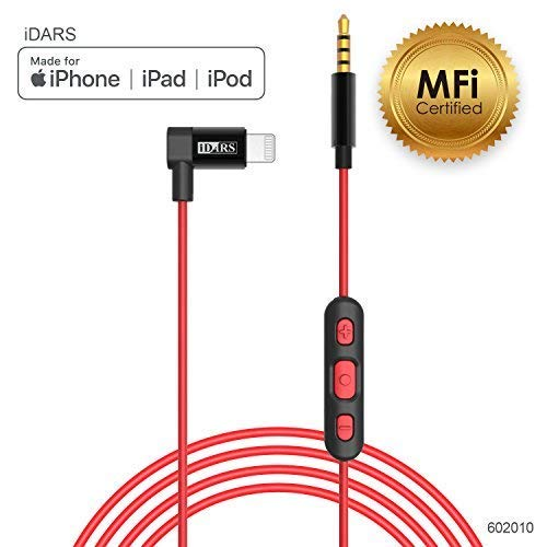 iDARS 3.5mm Lightning AUX Cable Apple MFi Certified Lightning Audio Cable with Mic & Remote Control Aux Cable for Car, Hi-Fi Headphones, Bluetooth Speakers Support iPhone Xs/XS MAX/XR/X