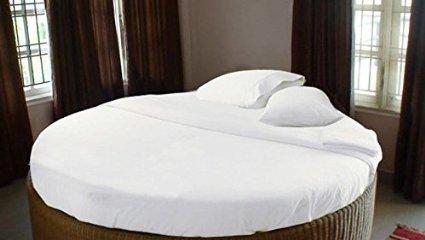 Round Sheet Set (1000 TC WHITE COLOR ROUND BED SHEET SETS 4 PIECES 100% COTTON 84