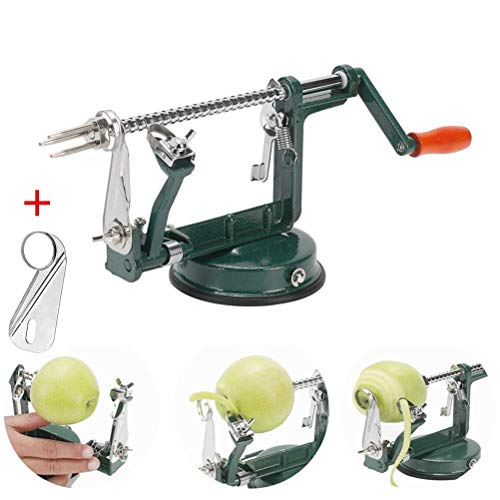 Apple peeler, Apple Peeler and Corer with Suction Base 3 in 1 Slinky Machine Durable Heavy Duty Die Apple Peelers Made In USA (Dark Green)