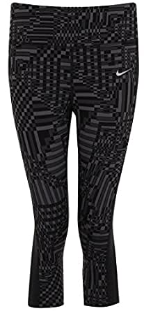 Nike Womens Epic Lux Printed Running Capris (Small, Grey/Black)