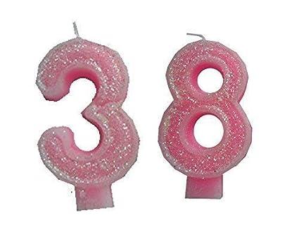 2 Piezas Vela de Cumpleaños con Derzahl 38