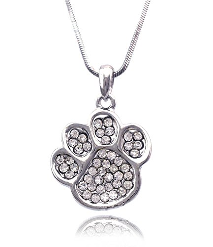 Azaina_cfj Clear Crystal Small Doggy Dog Pet Animal Paw Pendant Necklace by Azaina_cfj (Image #2)