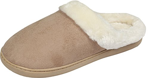 Luxehome Womens Cozy Fleece House Slippers Apricot bOC5TCD