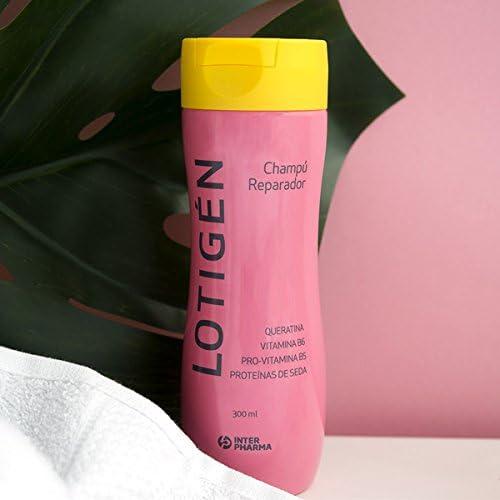 LOTIGÉN – Champú reparador con vitaminas indicado para la higiene suave del cabello frágil y desvitalizado, con ingredientes de origen 100% natural – 300 ml: Amazon.es: Belleza