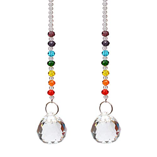 Moonee Set of 2 30mm Crystal Ball Prism Pedant Rainbow Maker Beads Strand Design Rainbow Crystal Suncatcher(Ball)
