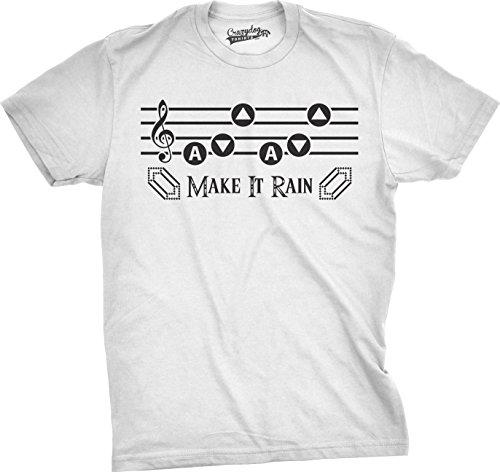 Crazy Dog TShirts - Mens Make It Rain Funny Music Rupee Video Game Nerdy Vintage Gamer T shirt (White) S - herren - S