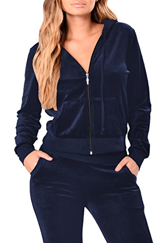 Linsery Women's Winter Velour Zipper Hooded Jacket Jogger Pants 2 Piece Sweatsuit XL Navy ()