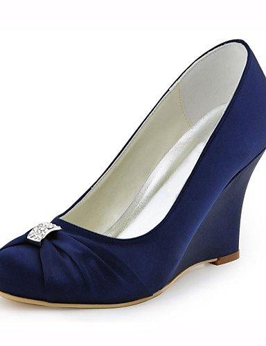 GGX/ Damen-High Heels-Hochzeit / Kleid / Party & Festivität-Stretch - Satin-Keilabsatz-Absätze-Blau / Elfenbein 3in-3 3/4in-ivory