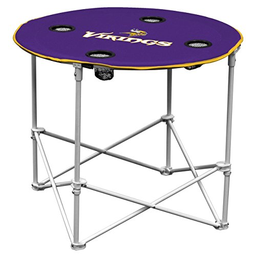 Minnesota Vikings  Collapsible Round Table with 4 Cup Holders and Carry - Minnesota Table Pool