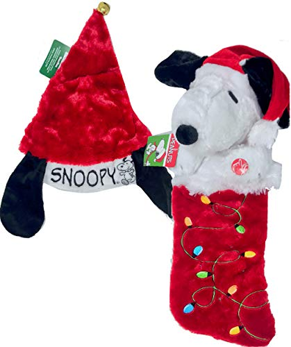 New Peanuts 21 inch 3D Animated Snoopy Christmas Stocking Lights Up & Plays Theme Song/Matching Christmas Hat