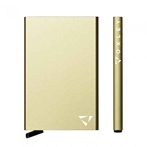 OXLEY Ultimate Slim Wallet | RFID Blocking Aluminium Credit Card Holder | With complimentary a money clip and luxurious gift box | (Champagne Gold)