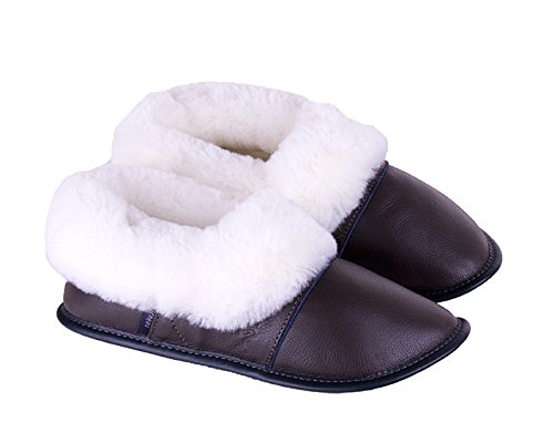 5a2ace74944 Garneau Slippers Men s Lazybones Brown Sheepskin And Leather Slippers L   10.5 To 11.5