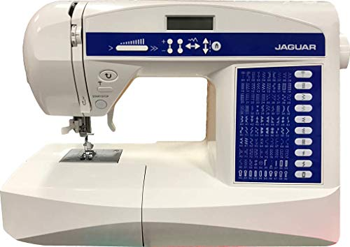 Jaguar HD-696 Computerised Sewing Machine (Quilting Edition) - Includes Large Accessories Bundle (Extension Table, Hard Case, Scissors, Walking Foot, Embroidery Foot, Needles, Thread, Bobbins & More!)