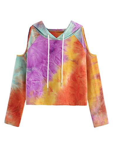 SweatyRocks Women's Cold Shoulder Tie Dye Pullover Hoodie Crop Top Sweatshirt Tie-Dyed XL