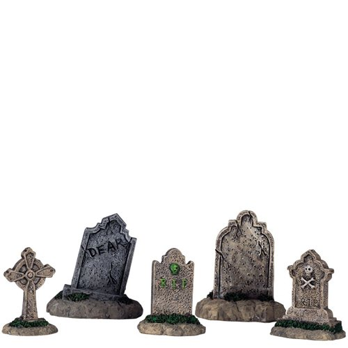 Lemax Halloween Spooky Town Set of 5 Tombstones  #44145 -