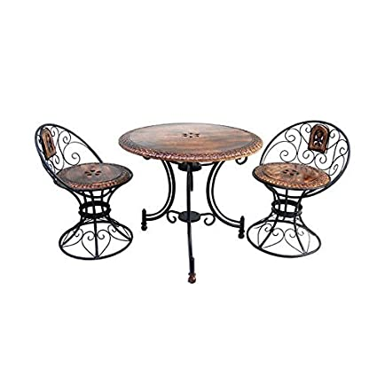 Jk Handicrafts Mango Wood and Iron Carved Decorative Folding Table with 2 Chairs Set