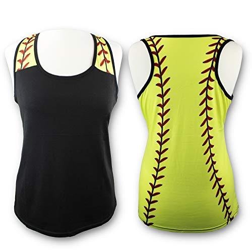 (KNITPOPSHOP Softball Tank Top for Mom Fans T Shirt Apparel Tshirt Gifts Team (Black/Yellow, X-Large))