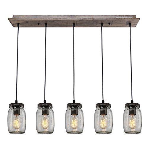 (LNC Farmhouse Kitchen Island Lighting,Wood Pendant Lighting 5-Light Glass Mason Jar Linear Chandeliers)