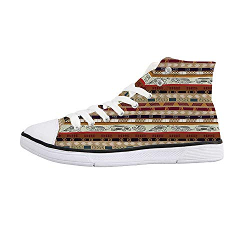 Supreme Flat Brush - ALUONI Primitive Comfortable High Top Canvas Shoes,Tribal Flat Design with Image of Dinosaurs and Continuous Leaves Indian Heritage for Women Girls,US 5