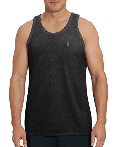 Champion Men's Classic Jersey Ringer Tank Top, Black, -