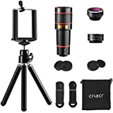 Criacr Phone Camera Lens, 12X Zoom Telephoto Lens + Fisheye Lens + 15X Macro Lens & 0.63X Wide Angle (Attached Together) + Phone Holder + Tripod, 3 in 1 Smartphone Cell Phone Lens for iPhone, Samsung