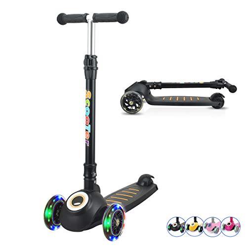 Patinete para niños, patinete de 3 ruedas para niños pequeños, niñas y niños con barra en T plegable, 4 ruedas de poliuretano intermitentes y de altura ajustable, inclinado para dirigir para niños de 3 a 13 años