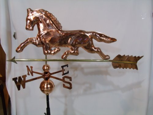 Polished Finish Copper Horse Weathervane with Free Roof Mount ()