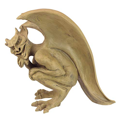 Design Toscano OS68829 Legend of Cambridge Hopping Gargoyle Gothic Decor Statue, 12.5 Inch, Stone